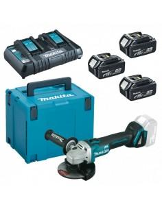 Kit Makita MKP4PT1833: smerigliatrice angolare DGA504 + 3 batterie 18V 5Ah e caricatore doppio + Valigetta