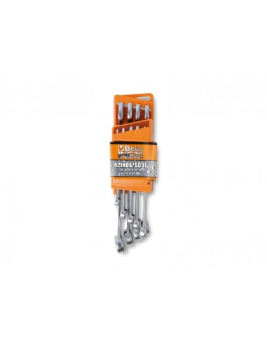 Serie di 9 chiavi combinate in acciaio inossidabile con supporto compatto 42INOX/SC9