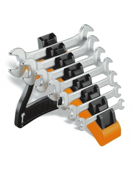 Serie di 7 chiavi a forchetta doppie con supporto 55/SP7