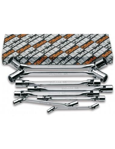 Serie di 8 chiavi a bussola poligonale snodate doppie (art. 80) 80/S