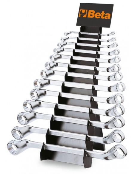Serie di 13 chiavi poligonali doppie curve (art. 90) con supporto 90/SP