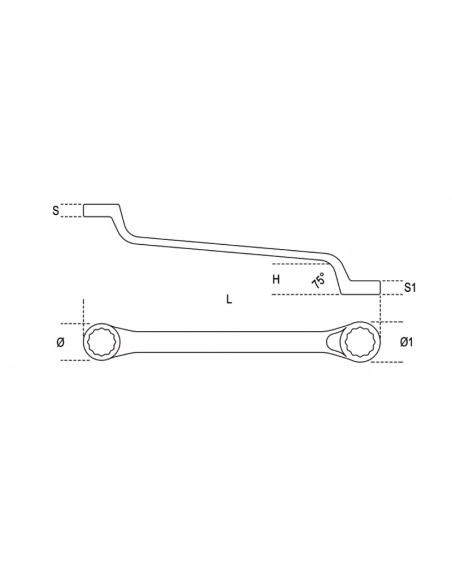 Chiave poligonale doppia curva speciale per ponteggi, cromata H-SAFE 93HS