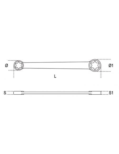 Chiavi poligonali doppie diritte, per viti con profilo Torx® cromate 95FTX