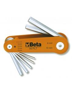 Serie di 7 chiavi maschio esagonale piegate (art. 96) 96/BG7