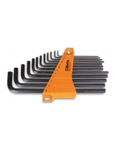 Serie di 12 chiavi maschio esagonale piegate tipo lungo (art. 96L) con supporto 96L/SC12