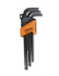 Serie di 9 chiavi maschio esagonale piegate con estremità sferica 96BP/AS-SC9