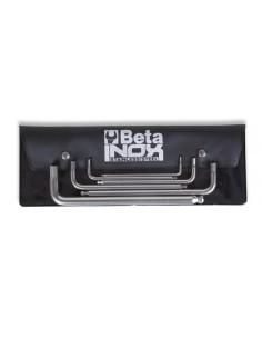 Serie di 6 chiavi maschio esagonale piegate con estremità sferica, in acciaio inossidabile, in busta 96BPINOX/B