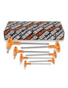 Serie di 7 chiavi maschio esagonale piegate con impugnatura di manovra in acciaio inossidabile 96TINOX-AS/S7