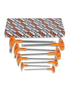 Serie di 8 chiavi maschio esagonale piegate con impugnatura di manovra in acciaio inossidabile 96TINOX/S8