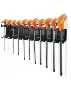 Serie di 11 chiavi maschio piegate con impugnatura per viti con impronta Torx® con supporto 97TTX/SP