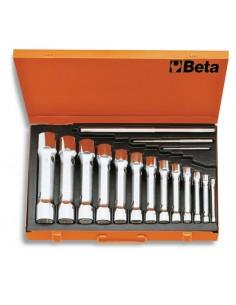 Serie di 13 chiavi a tubo doppie poligonali serie pesante (art. 930) in cassetta 930/C