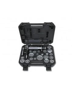 Utensile pneumatico per arretrare e ruotare i pistoncini dei freni a disco destrorsi e sinistrorsi con accessori 1471M/C22