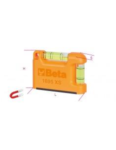 """Livella tascabile con base a """"V"""" magnetica in alluminio profilato 2 fiale infrangibili precisione 1mm/m 1695XS"""