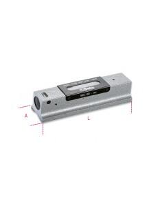 Livella lineare di precisione in ghisa con base prismatica rettificata a 2 fiale infrangibili in astuccio di legno 1699L