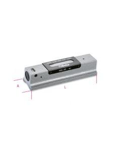 Livella lineare di precisione in ghisa con base prismatica rettificata a 2 fiale infrangibili in astuccio di legno 1699L/1