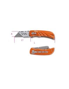 Cutter a serramanico con lama trapezoidale impugnatura in alluminio fornito con 5 lame 1777T