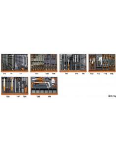 Assortimento di 142 utensili per manutenzioni industriali in moduli rigidi 5904VI/3T