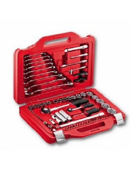 Just Usag 601 1/4-1/2 J82 - Assortimento in cassetta modulare con bussole esagonali e chiavi combinate (82 pz)